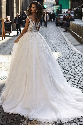 Elegant 2020 A-Line Overskirt Long Wedding Dresses   Sleeveless Lace Appliques Bridal Gown_3