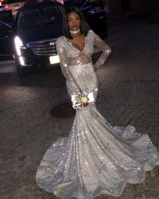 Gorgeous Long Sleeves Silver Mermaid Sweep Train Prom Dresses   Long Sleeves Scoop Appliques Evening Gown BC0871_2