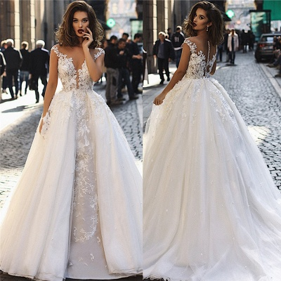 Elegant 2020 A-Line Overskirt Long Wedding Dresses   Sleeveless Lace Appliques Bridal Gown_4