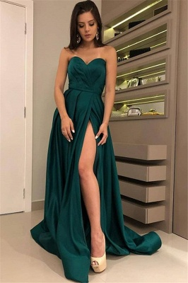 Charming Dark Green Sweetheart Sleeveless Prom Dresses | A-Line Front Split Cheap Evening Gown_1