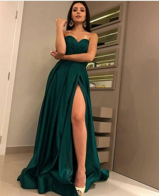 Charming Dark Green Sweetheart Sleeveless Prom Dresses | A-Line Front Split Cheap Evening Gown_4