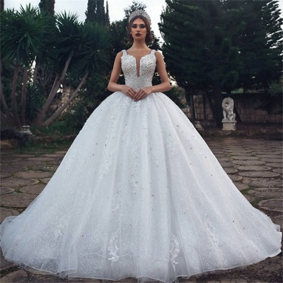 Gorgeous Straps Beading Ball Gown Wedding Dresses | 2020 Tulle Appliques Sleeveless Bridal Gown_3