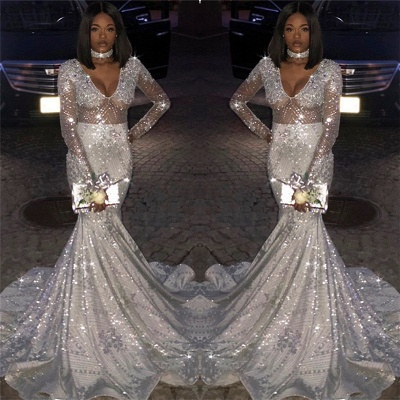 Gorgeous Long Sleeves Silver Mermaid Sweep Train Prom Dresses   Long Sleeves Scoop Appliques Evening Gown BC0871_6
