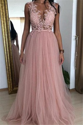 Cheap Straps Appliques Tulle Party Dresses | Newest Sleeveless Pink A-Line Prom Dresses_1