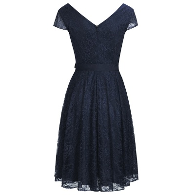 A-line Shoet Sleeves V-neck Lace Dress with Bow Sash On Sale_3