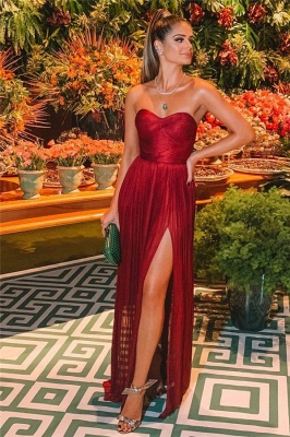 Burgundy Strapless Side-Slit Prom Gown | Sexy Sweetheart A-Line Prom Dresses_2
