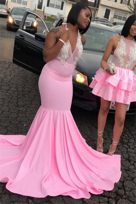 Pink Halter Sleeveless Evening Gown | Elegant Appliques Mermaid Prom Gown_2