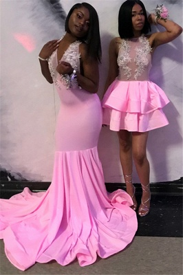 Pink Halter Sleeveless Evening Gown | Elegant Appliques Mermaid Prom Gown_1