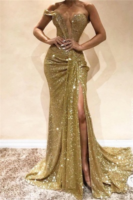 Gold Sequins One Shoulder Evening Dresses | Sexy Split Cheap Prom Dresses 2020 BC0355_1