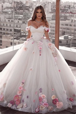 Glamorous Weeding Flowers Off-the-shoulder A-Line Dresses_1