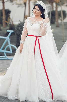 White Long Sleeves Tulle Wedding Dresses | Long A-Line Lace Brial Gowns 2020_2