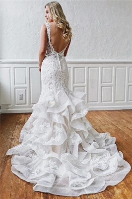 Excellent Sleeveless Ruffled Ivory V-neck Mermaid Appliques Wedding Dresses_2