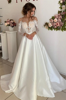 Floor-Length Lace A-line Attractive Long-Sleeves Wedding Dresses_1