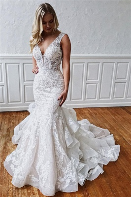 Excellent Sleeveless Ruffled Ivory V-neck Mermaid Appliques Wedding Dresses_1