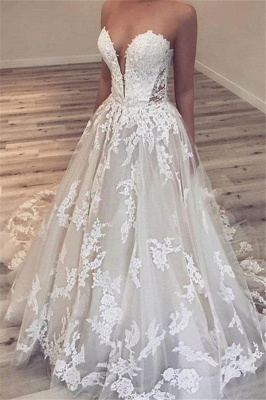 Appliques Sweetheart Ball-Gown Gorgeous Wedding Dresses_1