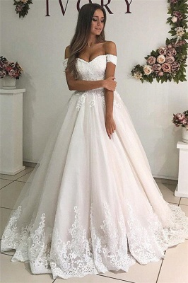 Appliques Off-the-shoulder Elegant A-line Floor-Length Wedding Dresses_1