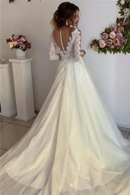 Lace A-line Floor-Length Long-Sleeves V-neck Wonderful Wedding Dresses_2