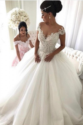 2020 Beads Lace Royal Wedding Dresses Cheap | Princess Ball Gown Sheer Tulle Sexy Bridal Gowns_2