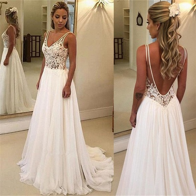 Elegant A-Line Backless Lace Appliques Bridal Gown | Chiffon Sleeveless Slim Wedding Dress_3