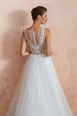 Exquisite Sequins White Tulle Affordable Wedding Dress with Appliques_10