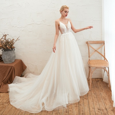Chic Spaghetti Straps V-Neck Ivory Tulle Wedding Dress with Appliques_7