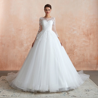 Affordable Lace Jewel White Tulle Wedding Dress with 3/4 Sleeves_5