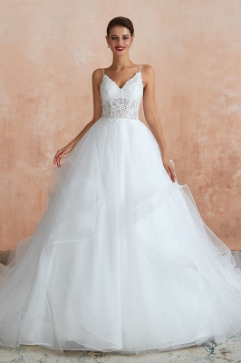 Chic Spaghetti Straps Lace Wedding Dress with See Through Bodice_2