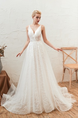 Affordable Tulle V-Neck Long Wedding Dress with Appliques_2