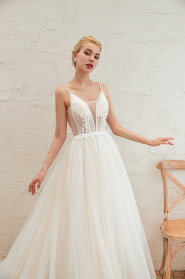 Chic Spaghetti Straps V-Neck Ivory Tulle Wedding Dress with Appliques_12