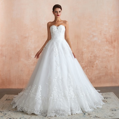 Stylish Strapless White Lace Affordable Wedding Dress with Low Back_3