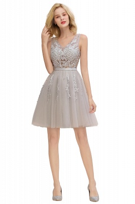 Elegant V-Neck Sleeveless Short Prom Dress | Mini Homecoming Dress With Lace Appliques_24