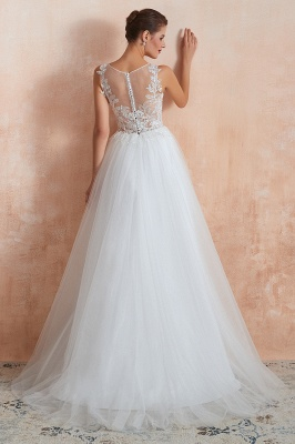 Exquisite Sequins White Tulle Affordable Wedding Dress with Appliques_3