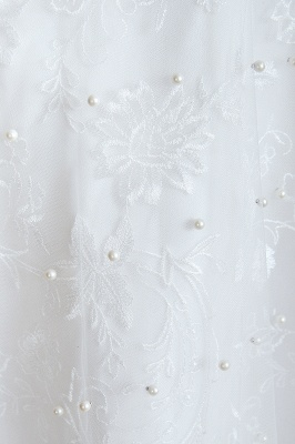 Fantastic V-Neck Sleeveless White Appliques Wedding Dress With Pearls_10