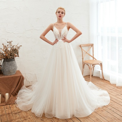 Chic Spaghetti Straps V-Neck Ivory Tulle Wedding Dress with Appliques_3
