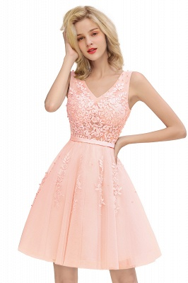 Elegant V-Neck Sleeveless Short Prom Dress | Mini Homecoming Dress With Lace Appliques_1