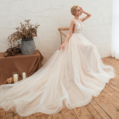Unique Tulle V-Neck Ivory Affordable Wedding Dress with Appliques_5