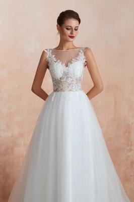 Exquisite Sequins White Tulle Affordable Wedding Dress with Appliques_8