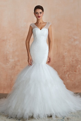 Sparkly Mermaid Sweetheart White Tulle Wedding Dress with Sequins_2