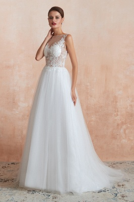 Exquisite Sequins White Tulle Affordable Wedding Dress with Appliques_4