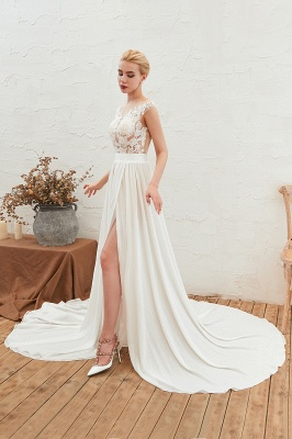 Sexy Jewel Appliques Long Ivory Affordable Wedding Dress with Front Slit_8