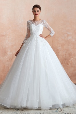 Affordable Lace Jewel White Tulle Wedding Dress with 3/4 Sleeves_2