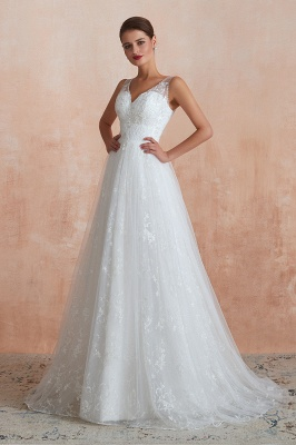Affordable V-Neck Tulle Lace Long White Wedding Dress_7