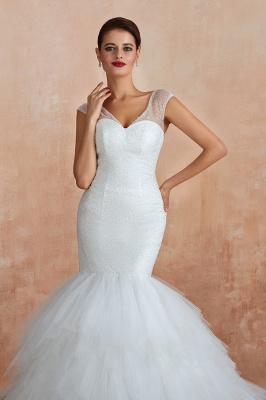Sparkly Mermaid Sweetheart White Tulle Wedding Dress with Sequins_10