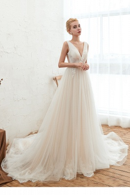 Affordable Tulle V-Neck Ruffle Long Wedding Dress with Appliques_4