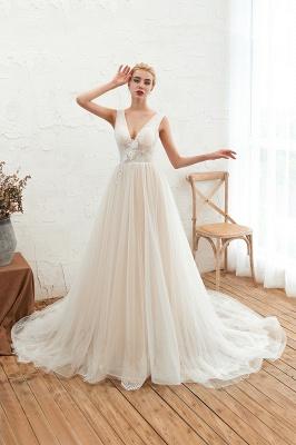 Affordable Tulle V-Neck Ruffle Long Wedding Dress with Appliques_1