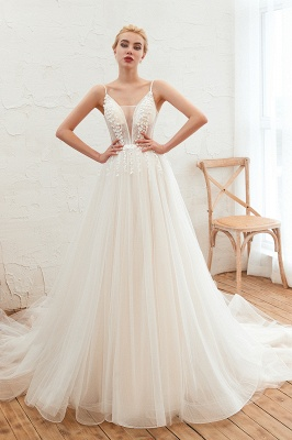 Chic Spaghetti Straps V-Neck Ivory Tulle Wedding Dress with Appliques_1