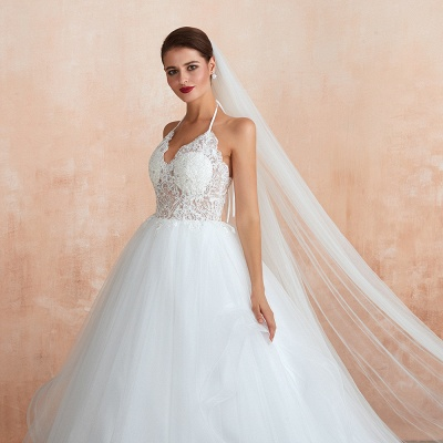 Exquisite Lace Halter Ball Gown White Wedding Dress with Open Back_10