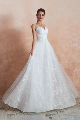 Affordable V-Neck Tulle Lace Long White Wedding Dress_5