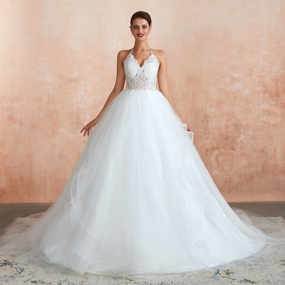 Exquisite Lace Halter Ball Gown White Wedding Dress with Open Back_5