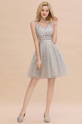 Elegant V-Neck Sleeveless Short Prom Dress | Mini Homecoming Dress With Lace Appliques_18